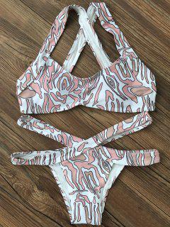 Printed Cross Back Bikini Set - White L