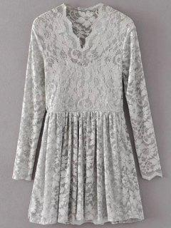 Lace V Neck Dress - Gray S