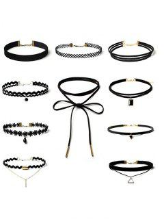 Triangle Flower Bar Choker Necklace Set - Black