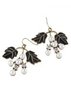 Faux Pearl Rhinestone Tree Leaves Earrings - Black
