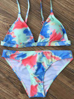 Plunging Neck Tie Dye Bikini Set - Green Xl