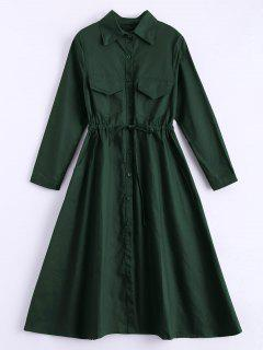 Long Sleeve Drawstring Shirt Dress - Army Green