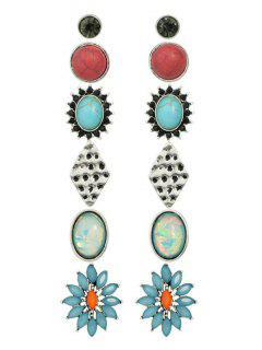 Rhinestone Artificial Gem Turquoise Earring Set