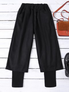Elastic Waist Layered Wide Leg Pants - Black S
