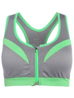Front Zip Mid Impact Sports Bra - Gray M