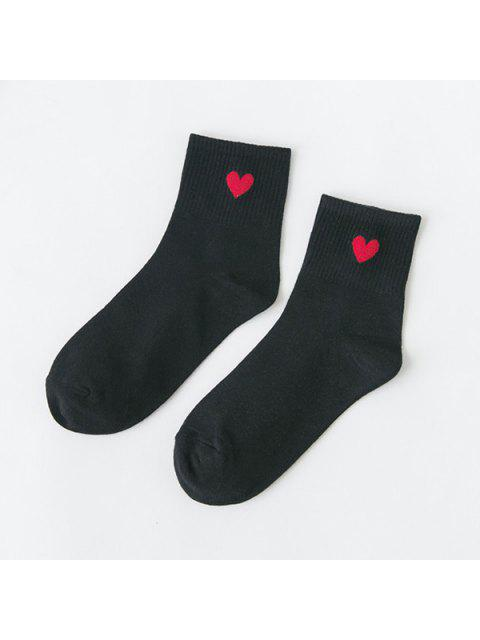 fashion Small Heart Pattern Knitted Ankle Socks - BLACK  Mobile