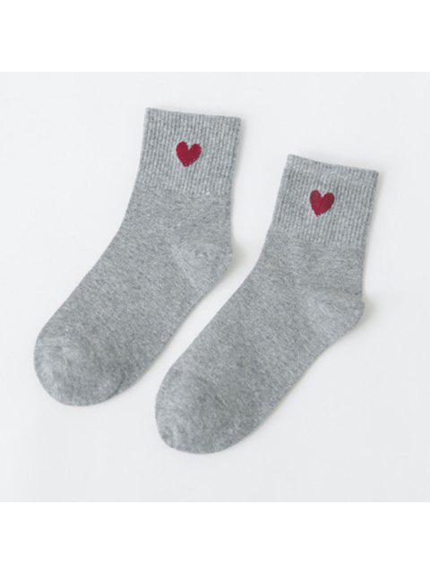 fancy Small Heart Pattern Knitted Ankle Socks - GRAY  Mobile