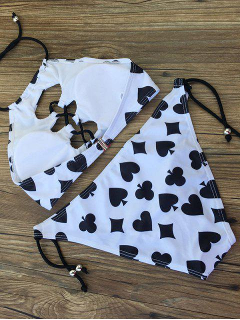 outfits Printed String Lace-Up Bikini Set - WHITE AND BLACK XL Mobile