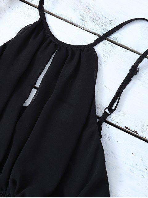 shop Mesh Panel Camisole - BLACK XL Mobile
