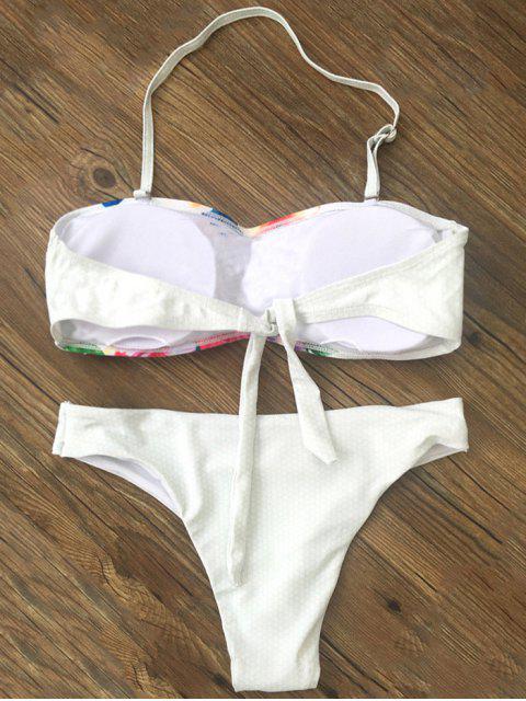 latest Bandeau Floral Bikini - WHITE S Mobile