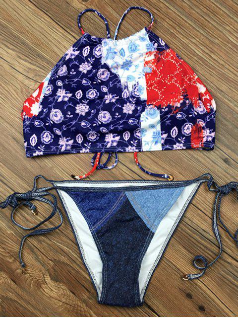affordable Crosscriss Floral Panel Bikini Set - BLUE XL Mobile