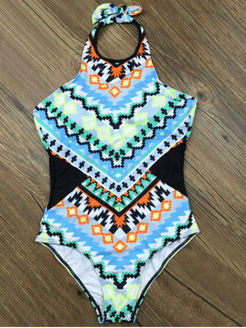 women's Cut Out Geometric One-Piece Swimwear - LIGHT BLUE XL Mobile