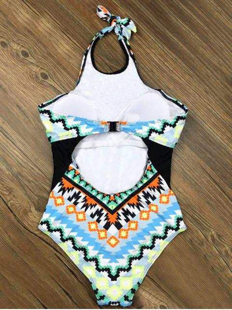 ladies Cut Out Geometric One-Piece Swimwear - LIGHT BLUE L Mobile