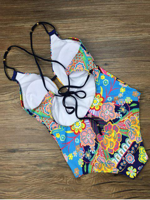 outfit Printed Ethnic Style One-Piece Swimwear - BLUE S Mobile
