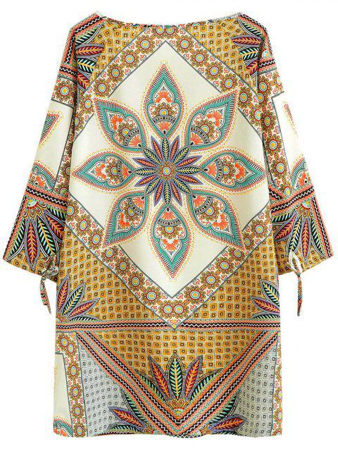 chic Printed Ralgan Sleeve Mini Tunic Dress - BROWN M Mobile