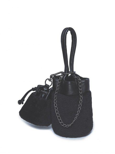 new Chains Plush Panel Bucket Bag - BLACK  Mobile