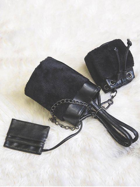 new Chains Plush Panel Bucket Bag - BLACK  Mobile