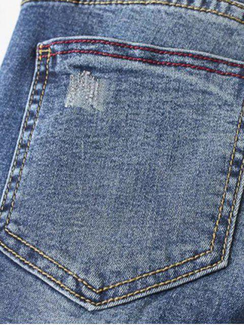 latest Dark Wash Frayed Floral Embroidered Jeans - DEEP BLUE S Mobile