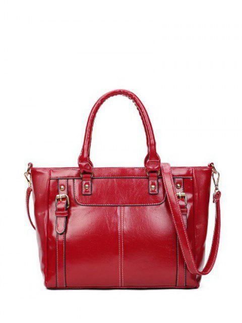 shop Buckles Embellished PU Leather Handbag - WINE RED  Mobile