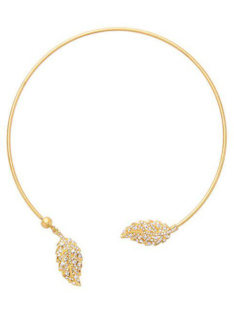 women Rhinestone Leaf Torques - GOLDEN  Mobile