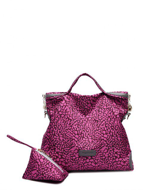 fashion Printed Handbag With Coin Purse - ROSE RED  Mobile