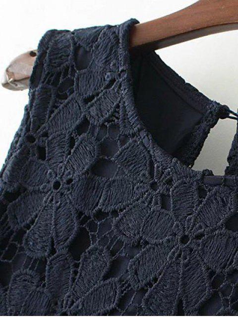 sale Lace Cold Shoulder Dress - KHAKI M Mobile
