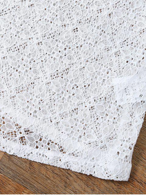 fancy V Neck Backless Lace String Top - WHITE L Mobile