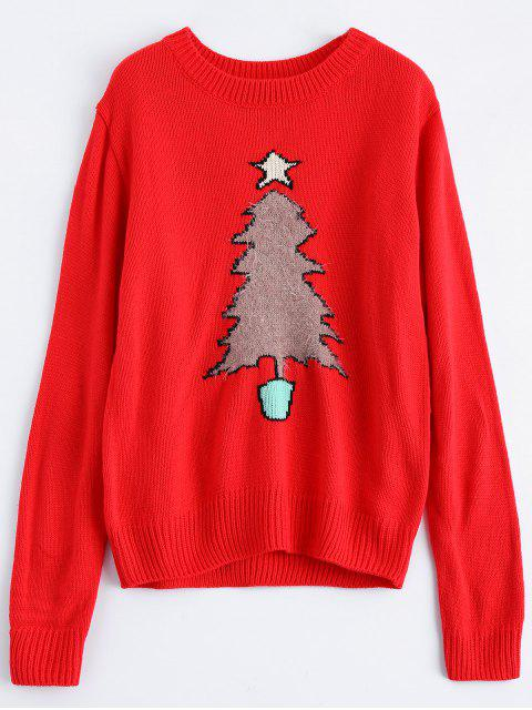 lady Christmas Tree Jacquard Pullover Sweater - RED XL Mobile
