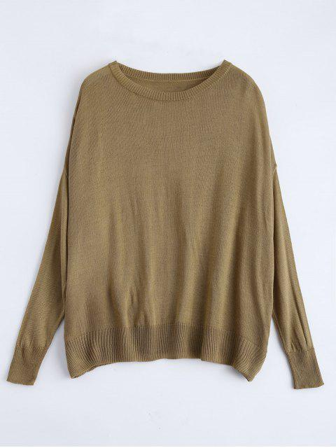 women Batwing Sleeve Drop Shoulder Knitwear - BROWN M Mobile