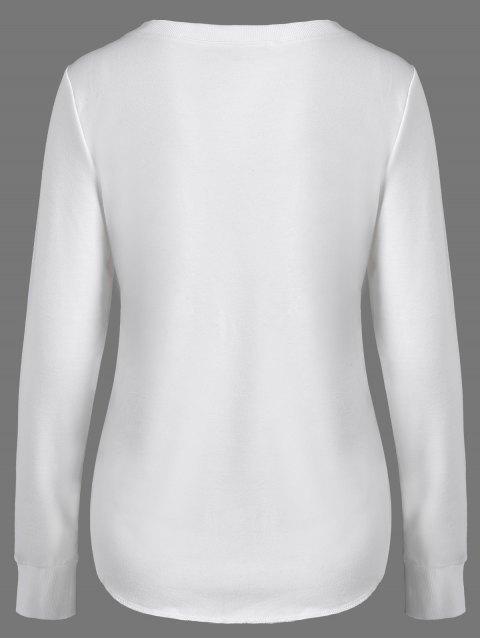 sale Christmas Reindeer Print Sweatshirt - OFF-WHITE L Mobile
