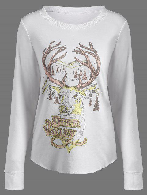 buy Christmas Reindeer Print Sweatshirt - OFF-WHITE S Mobile