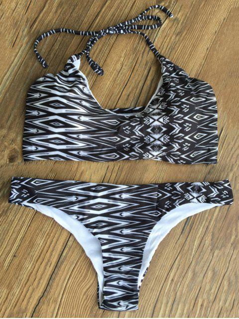 fashion Geometric Print Padded Bikini Set - BLACK S Mobile