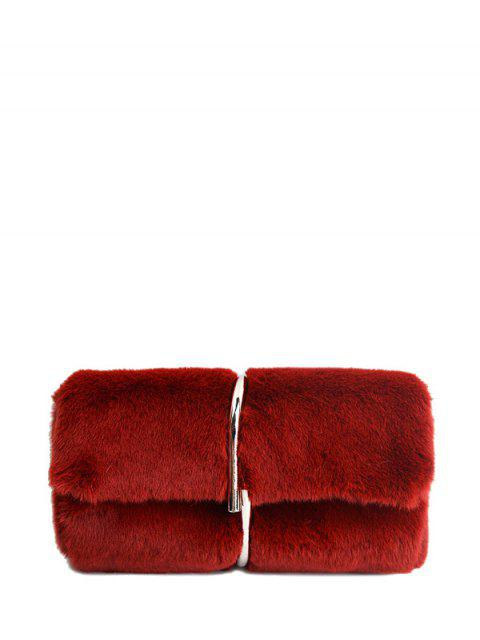 chic Flapped Faux Fur Clutch Bag - CLARET  Mobile