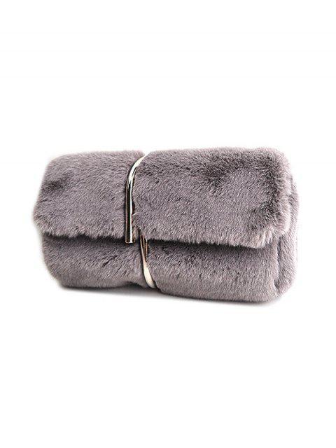 fancy Flapped Faux Fur Clutch Bag - GRAY  Mobile