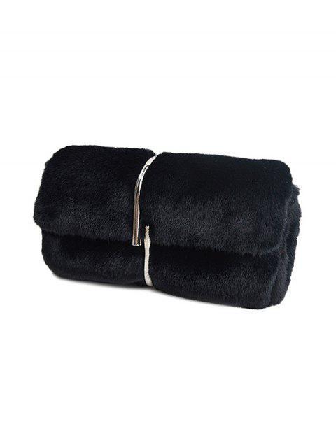 buy Flapped Faux Fur Clutch Bag - BLACK  Mobile