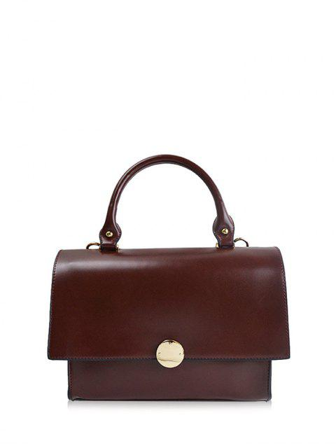 womens Faux Leather Flapped Handbag - CLARET  Mobile