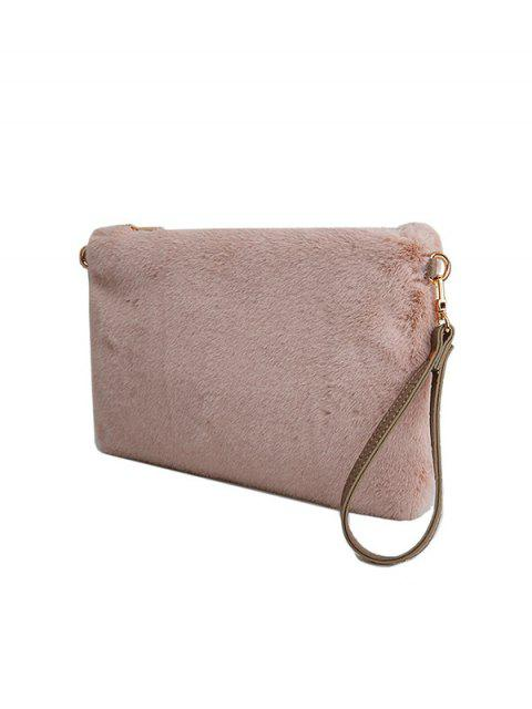 lady Faux Fur Embossed Panel Clutch Bag - PINK  Mobile
