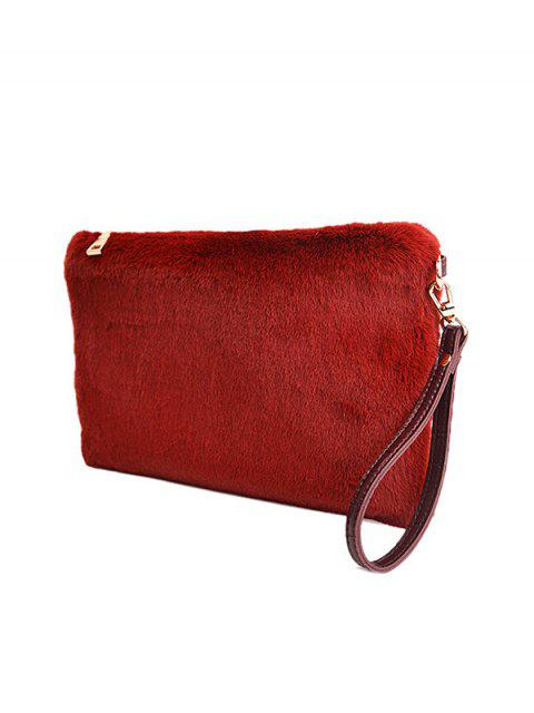 online Faux Fur Embossed Panel Clutch Bag - CLARET  Mobile