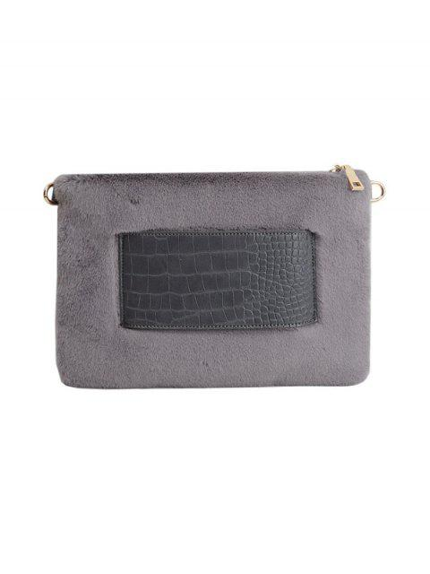 new Faux Fur Embossed Panel Clutch Bag - GRAY  Mobile