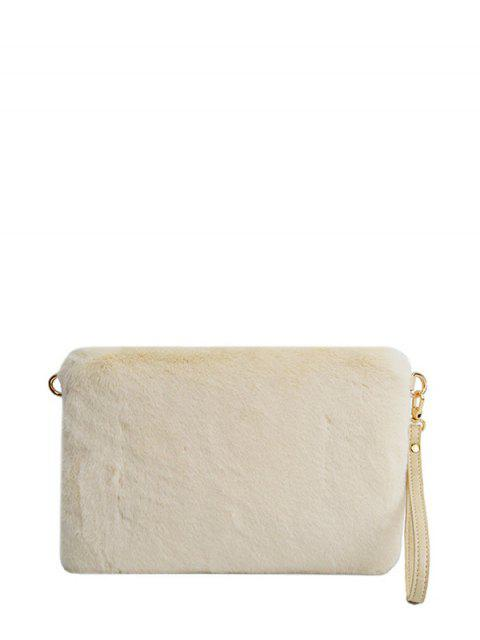 hot Faux Fur Embossed Panel Clutch Bag - BEIGE  Mobile