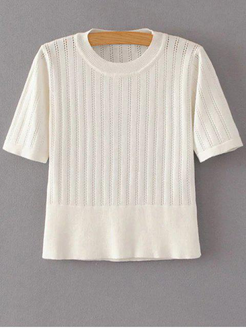 shop Short Sleeve Hollow Out Cropped Knitwear - OFF-WHITE M Mobile