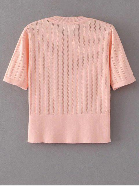 chic Short Sleeve Hollow Out Cropped Knitwear - PAPAYA S Mobile