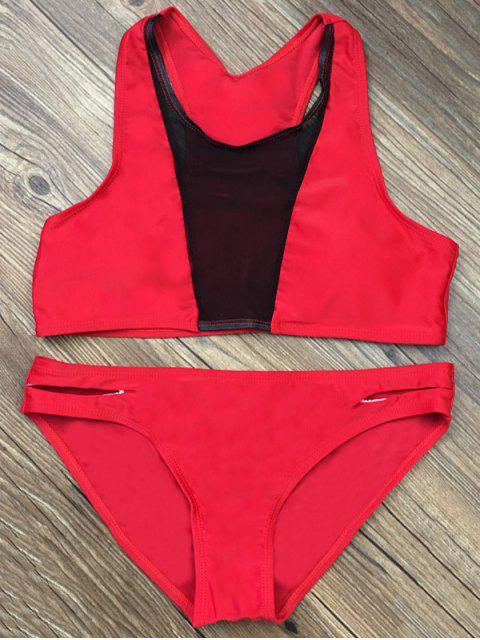 shop Color Block Mesh Panel Bikini Set - RED S Mobile