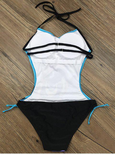 lady Abstract Print Halter Swimwear - LAKE BLUE M Mobile