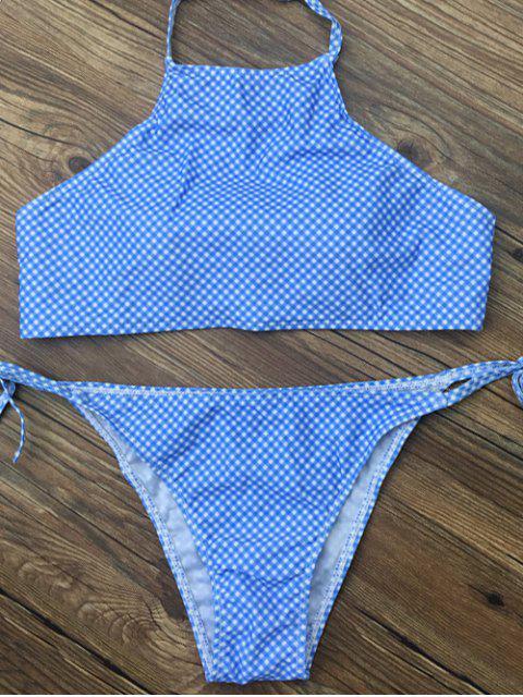best Side Tie Halter Plaid Bikini Set - BLUE M Mobile
