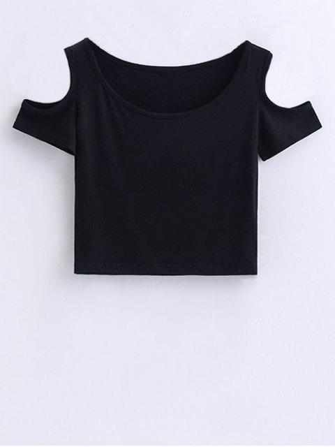 best Cold Shoulder Crop Tee - BLACK S Mobile