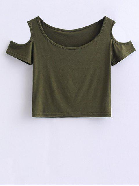 outfits Cold Shoulder Crop Tee - ARMY GREEN M Mobile
