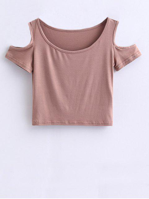 latest Cold Shoulder Crop Tee - PALE PINKISH GREY S Mobile