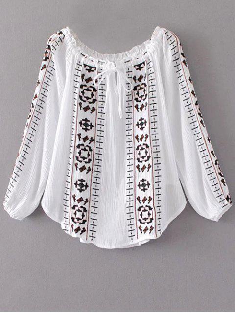 affordable Embroidered Off Shoulder Blouse - WHITE L Mobile