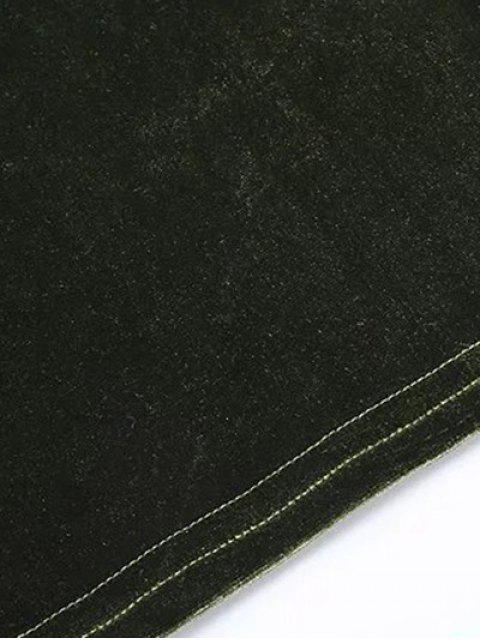 Sleeve Flared Velvet Crop Top - Bleu Cadette S Mobile